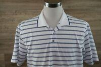 IZOD Xtreme Cotton Polo Shirt Mens Large White with Blue Stripe Short Sleeve