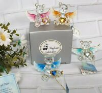 BIRTHSTONE CRYSTAL ANGEL BEAR GLASS HEART COLLECTABLES GIFT