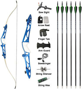 "66"" 68"" 70"" Takedown Recurve Bow Arrow Set Archery Target Shooting Competition"