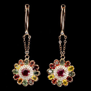 Round Ruby 5mm Sapphire Cz 14K Rose Gold Plate 925 Sterling Silver Earrings