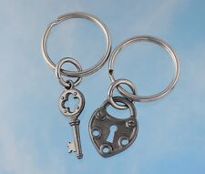 Gunmetal Black Key to my heart couples keychain set - two key rings- Steampunk