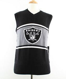 OTS NFL Men's Oakland Raiders Sweater Vest with Team Logo, Black & Grey, Medium