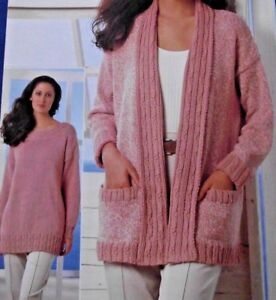 """LADIES ARAN CABLE SWEATER AND EDGE TO EDGE CARDIGAN 30"""" - 40"""" KNITTING PATTERN"""