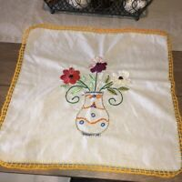 """Vintage Handmade Crewel Embroidered 18"""" Square Doily Table Linen Flowers in Pot"""