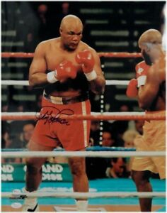 George Foreman Hand Signed Autographed 16X20 Photo Fighting Stance OA JSA COA