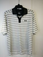 Under Armour Golf Polo Shirt White Black Gray Striped Men's Meduim