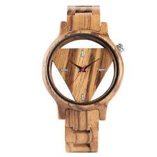Fashion Zebra Natural Wood Men Women Quartz Wrist Watch Hollow Triangle Xmas