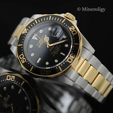 Swiss Quartz Gold Plated Invicta Pro Diver Black Dial Two Tone SS New Mens Watch