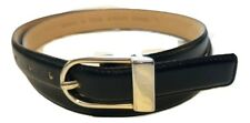 """Ladies Black Genuine LEATHER Belt with BRASS Buckle, 3/4"""" Wide, Size L, 35"""""""