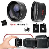 72mm Wide Angle + 2x Telephoto Lenses f/ CANON EOS 760D 750D 700D 650D 600D