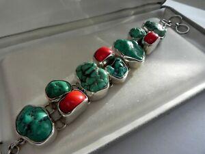 ✨OBSIDIAN STUDIO DESIGNER✨ HUGE 93g sterling silver 925 turquoise coral bracelet