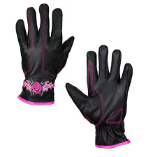 Womens Leather Motorcycle Gloves Pink Rose Biker Cruiser Riding S M L XL 2XL
