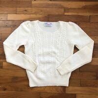 vtg Braemar Wool Angora V-Neck Sweater women's size 38 cable knit cream 2D119
