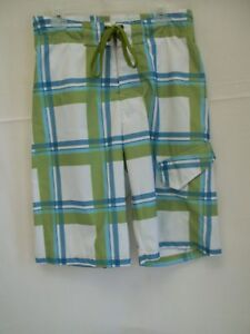 Boys Swim Shorts Trunks Green /White Plaid Size Small by Red Camel NWT