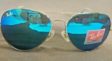 Ray-Ban RB3026 Aviator Large Sunglasses Gold/Blue Flash Mirror New w/case Auth