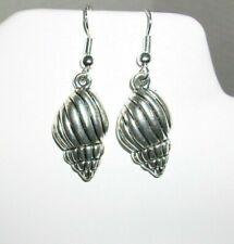 Great New Silver Conch Sea Shell Ocean Beach Hook Dangle Earrings
