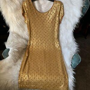 Cache Vintage Gold Sequins Party Dress