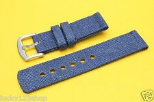 B-6570 Blue 24mm Fabric/Canvas Nylon Strap Band Watch Stainless Steel Buckle