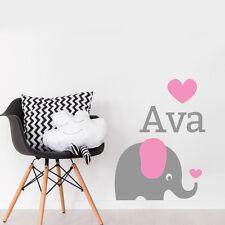 Personalised Elephant Kids Bedroom Nursery Mural Wall Art Sticker Wall Decal