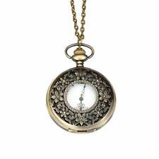 Antiguo Bronce Flor Reloj de Bolsillo Collar con Colgante