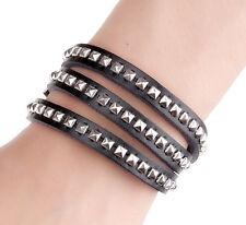 New Fashion Handmade Rock Punk Silver Studs Leather Multiturn Bracelet High