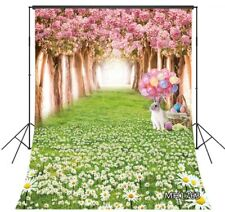 Spring Flowers Forest Easter Rabbit Eggs 8X10FT Vinyl Backdrop Photo Background
