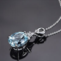 Elegant Gemstone Natural Aquamarine Pendant Silver Chain Necklace Jewelry Gifts