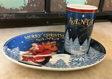 Joseph Holodook Santa Cookie Plate  And Milk Tumbler Set