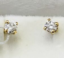 18k Yellow gold diamond  stud earring  solitaire 0.40 ct Prong Screw back