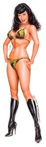 SEXY 3 inch MINI BETTY Bettie Page ARMY GIRL BIKINI Celphone STICKER/Pad DECAL