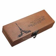 Retro Eiffel Tower Pen Pencil Case Holder Stationery Storage Wooden Box #gib