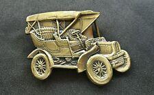 VINTAGE OLD ANTIQUE CAR MODEL SHAPED AUTOMOBILE BRASS TONED BELT BUCKLE