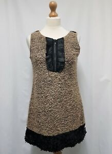Pussycat London Dress Shift Dress Size L (10-12) Beige & Black Mini Sequin Dress