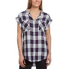 NEW Jachs Girlfriend Women's Cap Sleeve Button-Front Blouse Shirt Navy Plaid S