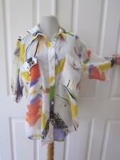 Vtg Helene Multi Color Short Sleeve Blouse Top w/ Rhinestone Bling Detail Sz S