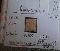 QUEENSLAND QUEEN VIC 1d PALE VERMILLION RED V.F.U. NEAR BULLSEYE STATE STAMP