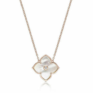 """Mother of Pearl Cubic Zirconia Flower Pendant Necklace Pink Sterling Silver 18"""""""