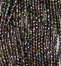 100 Purple Iris Czech Fire Polish Beads 4mm -No. 21495 FREE PRIORITY POST AUST