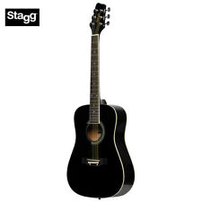 NEW Stagg SA20D 3/4 Size Dreadnought Beginner Acoustic Guitar - Black LEFT HAND