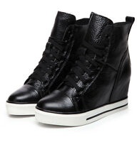 Women's Ankle Boots  Lace Up Hidden Wedge Heels Lace Up Casual Sneakers Shoes