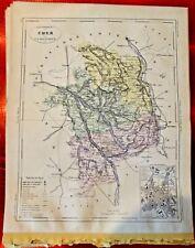 Old Map 1900 France Département Cher Bourges St Amand Sancerre Charenton Aubois