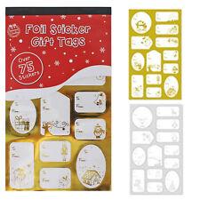 75 + Noël AUTOCOLLANT CADEAU / présent étiquettes - Feuille Or et argent Designs