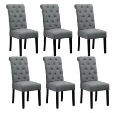 Set 6 Grey Dining Chairs Fabric High Back Padded Seat Tufted Dining Room Kitchen