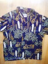 Diamond Head Hawaiian Shirt Ukulele Palm Trees Surfboard Blue Size Large