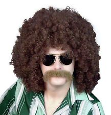 Adult Brown Loose Curly Afro 1960s 70s 80s Disco Fancy Dress Deluxe Costume Wig