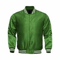 Letterman Baseball College Varsity Bomber Sports Wear Super Jacket Green Satin