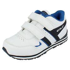 Niños Gola Blanco / Azul Marino/azul cierre adhesivo tira Zapatillas UK 10
