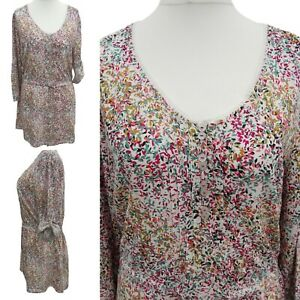 Woman Tunic blouse size 14 Pink Ditsy floral Button Adjustable Sleeve top