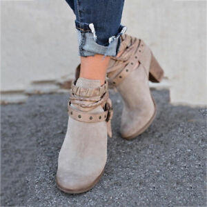 Womens Winter Snow Botas Warm Heels Boot Shoes Ladies Mid Heel Short Ankle Boots