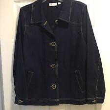 d & co. Denim And Company Denim Style Women's Blue Jacket Coat Buttons Size L